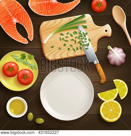 Cooking Fish Dish Flat Lay Photo Composition With Chopped Young Onion On Cutting Board Dark Backgrou
