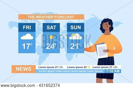 Tv Show Host Tells About Weather Condition For Future Weekend. Streaming Video News Broadcast With B