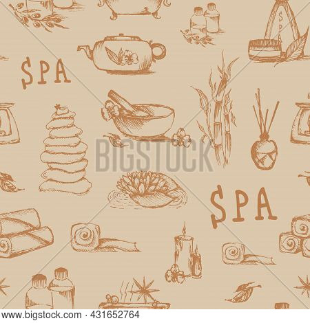 Massage And Spa Concept, Background For Beauty Saloon, Gift Wrapping, Design. Day Spa. Vector Spa Ba