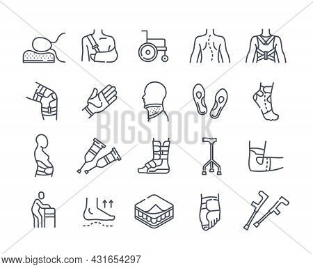 Medical Orthopedic Icons. Line Of Art Stickers With Various Injuries Of Bones And Joints. Body Parts