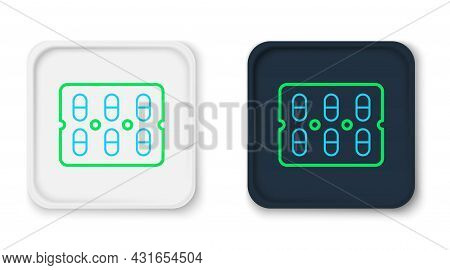 Line Pills In Blister Pack Icon Isolated On White Background. Medical Drug Package For Tablet, Vitam
