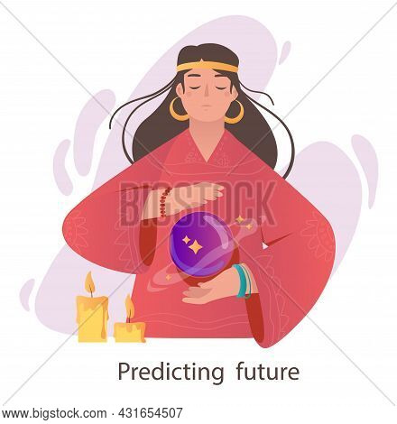 Psychic With Mystical Sphere. Beautiful Woman With Superpowers Predicts Future. Magical Character. W