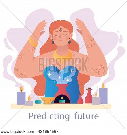 Healer Guesses On Herbs And Fire. Woman Predict Future With Help Of Her Mystical Abilities. Develope