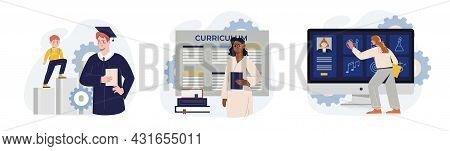 School Program Icon Collection. Admission To School, Curriculum, Student Personal File. Back To Scho