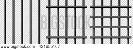 Black Realistic Metal Prison Bars. Detailed Jail Cage, Prison Iron Fence. Criminal Background Mockup