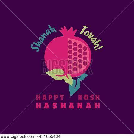 Rosh Hashanah Greeting Vector Card. Shanah Tovah Happy And Sweet New Year In Hebrew. Jewish New Year