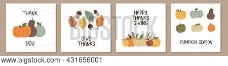 Set Of Trendy Thanksgiving Cards Decorated By Hand Drawn Pumpkins, Leaves, Acorns And Apples. Minima