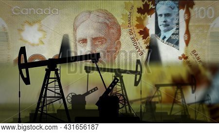 Canada Dollar Money Counting With Oil Pump