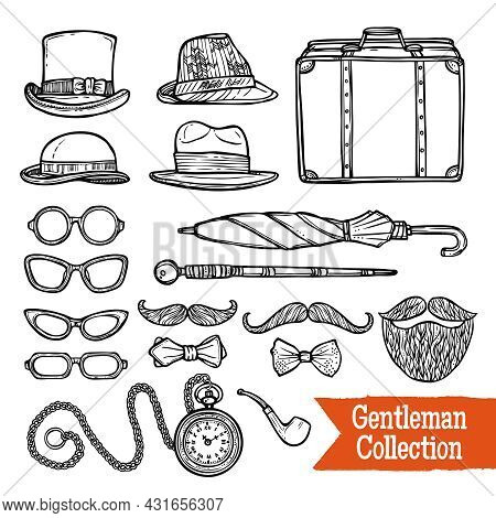 Old-fashioned Gentleman Accessories Set With Hats Pipes Umbrella And Cane Doodle Style Black Abstrac