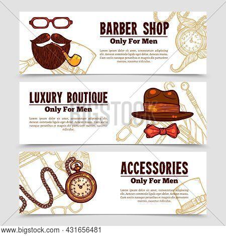 Vintage Gentlemen Banners Set With Luxury Boutique Accessories For Men And Barbershop Emblem Doodle