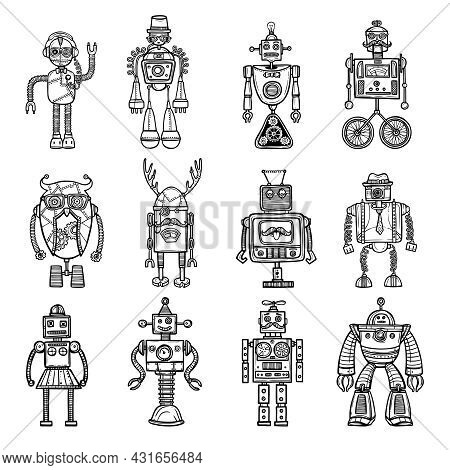 Funny Robots Toys Doodle Style Black Icons Pictures Collection With Tinker Man And Owl Isolated Vect