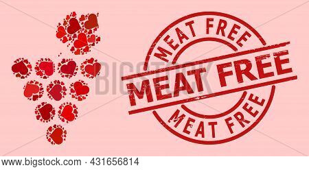 Textured Meat Free Stamp, And Red Love Heart Collage For Grapes Bunch. Red Round Stamp Contains Meat