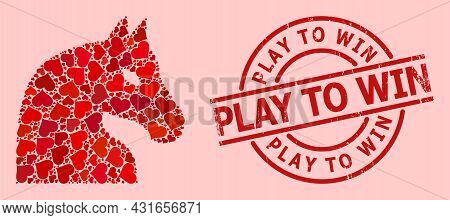 Scratched Play To Win Seal, And Red Love Heart Mosaic For Chess Horse. Red Round Seal Includes Play