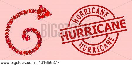 Scratched Hurricane Badge, And Red Love Heart Mosaic For Spiral Arrow. Red Round Badge Has Hurricane