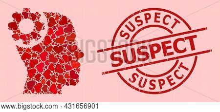 Rubber Suspect Stamp Seal, And Red Love Heart Collage For Brain Gear. Red Round Stamp Seal Has Suspe