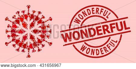 Distress Wonderful Stamp Seal, And Red Love Heart Mosaic For Winter Virus. Red Round Stamp Seal Incl