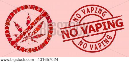 Textured No Vaping Stamp Seal, And Red Love Heart Mosaic For Forbid Cannabis. Red Round Stamp Seal H