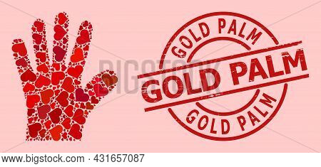 Grunge Gold Palm Stamp Seal, And Red Love Heart Mosaic For Hand Palm. Red Round Stamp Seal Includes