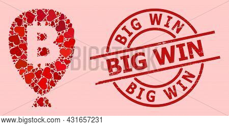 Grunge Big Win Stamp, And Red Love Heart Mosaic For Bitcoin Balloon. Red Round Stamp Contains Big Wi