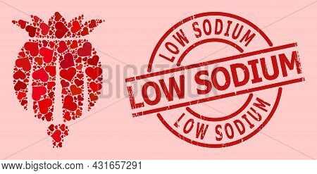 Grunge Low Sodium Badge, And Red Love Heart Collage For Opium Poppy Head. Red Round Badge Includes L