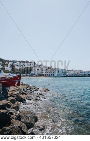 Mykonos Town, Greece - September 24, 2019: View Of The Sea And Coast In Hora, Also Known As Mykonos