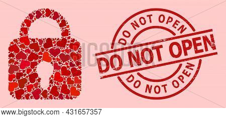 Scratched Do Not Open Stamp Seal, And Red Love Heart Pattern For Lock. Red Round Stamp Seal Has Do N
