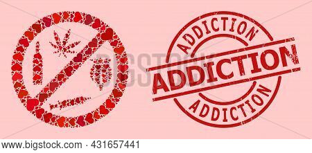 Distress Addiction Badge, And Red Love Heart Mosaic For Forbid Addiction Drugs. Red Round Badge Has
