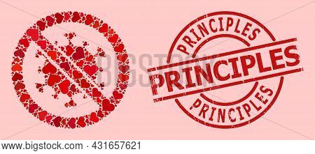 Textured Principles Stamp Seal, And Red Love Heart Collage For Stop Covid Virus. Red Round Stamp Sea