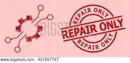 Grunge Repair Only Stamp, And Red Love Heart Collage For Electronic Mechanics. Red Round Stamp Seal