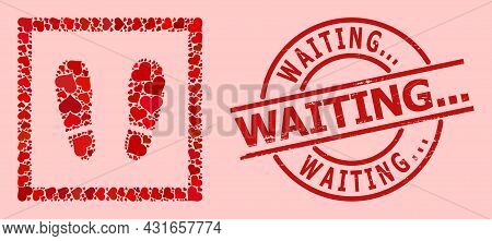 Textured Waiting... Stamp Seal, And Red Love Heart Pattern For Stay Here. Red Round Stamp Seal Has W