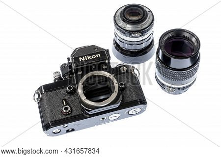 Maryville, Tennessee, United States - August 27, 2021: Horizontal Angled Front Shot Of A Black Nikon