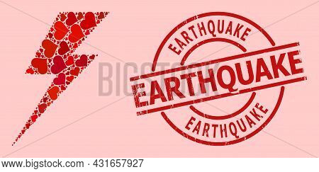 Scratched Earthquake Seal, And Red Love Heart Mosaic For Electric Strike. Red Round Seal Has Earthqu