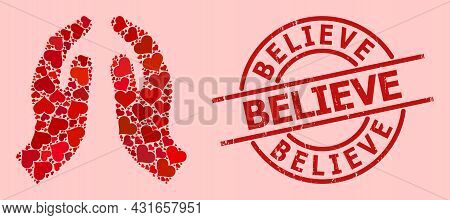 Textured Believe Stamp Seal, And Red Love Heart Mosaic For Pray Hands. Red Round Stamp Seal Contains