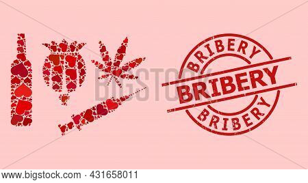 Textured Bribery Stamp Seal, And Red Love Heart Collage For Addiction Drugs. Red Round Stamp Seal Ha