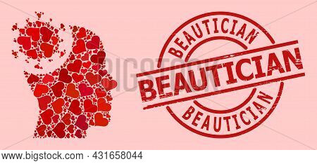 Rubber Beautician Stamp Seal, And Red Love Heart Mosaic For Head Virus. Red Round Stamp Seal Include