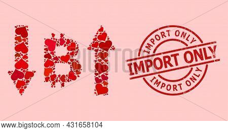 Distress Import Only Stamp, And Red Love Heart Collage For Bitcoin Volatility. Red Round Stamp Seal