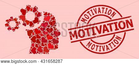 Textured Motivation Stamp Seal, And Red Love Heart Pattern For Mind Gears. Red Round Stamp Seal Cont