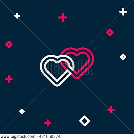 Line Two Linked Hearts Icon Isolated On Blue Background. Romantic Symbol Linked, Join, Passion And W