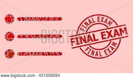 Distress Final Exam Stamp, And Red Love Heart Mosaic For List Items. Red Round Stamp Includes Final