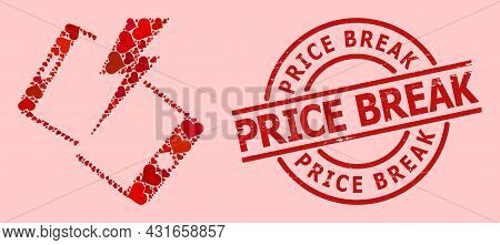 Distress Price Break Stamp Seal, And Red Love Heart Collage For Smartphone Crash. Red Round Stamp Se