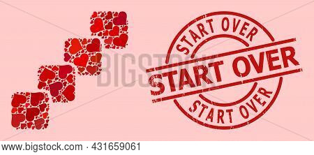 Rubber Start Over Stamp Seal, And Red Love Heart Collage For Blockchain. Red Round Badge Has Start O