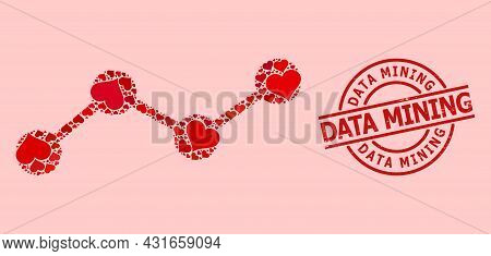 Textured Data Mining Stamp Seal, And Red Love Heart Mosaic For Chart. Red Round Stamp Seal Includes