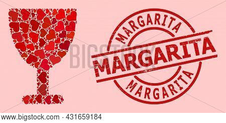 Distress Margarita Stamp, And Red Love Heart Mosaic For Wine Glass. Red Round Stamp Contains Margari