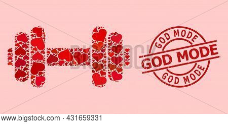 Grunge God Mode Stamp Seal, And Red Love Heart Pattern For Barbell. Red Round Stamp Seal Includes Go