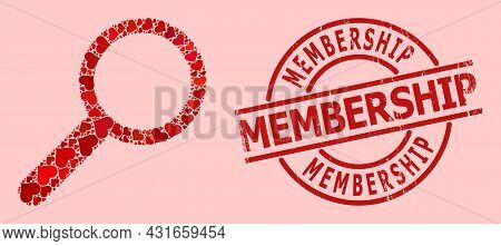 Distress Membership Stamp, And Red Love Heart Collage For Zoom. Red Round Stamp Contains Membership