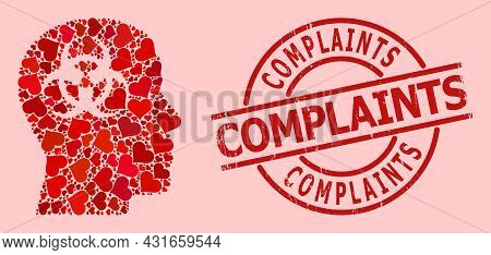 Rubber Complaints Stamp Seal, And Red Love Heart Pattern For Mental Virus. Red Round Stamp Seal Cont