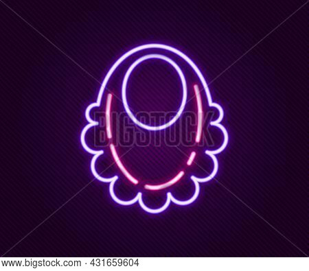 Glowing Neon Line Baby Bib Icon Isolated On Black Background. Colorful Outline Concept. Vector