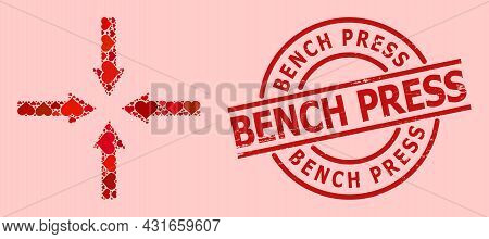 Scratched Bench Press Stamp, And Red Love Heart Collage For Shrink Arrows. Red Round Stamp Seal Incl