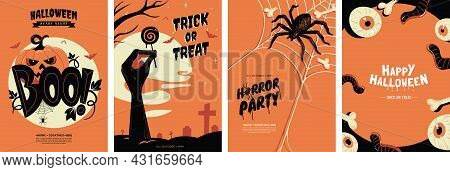 Halloween Posters Collection With Different Scary Illustrations In Orange And Black Colours. Creepy