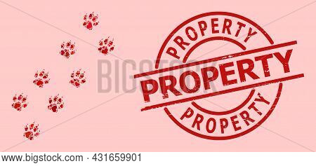 Distress Property Stamp Seal, And Red Love Heart Mosaic For Tiger Paw Trace. Red Round Stamp Seal In